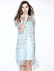 я-yecho женщин простой цветочный свободно платье, вокруг шеи мини-полиэстер