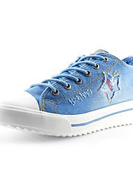 Feminino-TênisRasteiro-Azul Azul Real-Jeans-Ar-Livre Casual