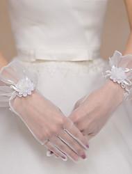 Handgelenk-Länge Fingerspitzen Handschuh Tüll Polyester Brauthandschuhe Party / Abendhandschuhe Frühling Sommer Herbst Winter Blumig