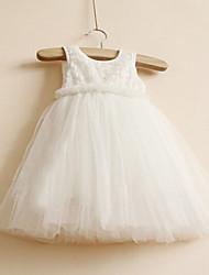 Robe Fille de Couleur Pleine Décontracté / Quotidien Polyester Eté Rose / Blanc