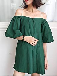 Ample Robe Aux femmes Sortie simple,Couleur Pleine A Bretelles Mini ½ Manches Blanc / Vert Coton Eté