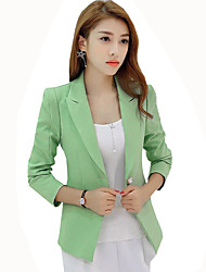 Women's Casual/Daily / Work Simple Slim Hin Thin Fall Blazer,Solid Peaked Lapel Long Sleeve