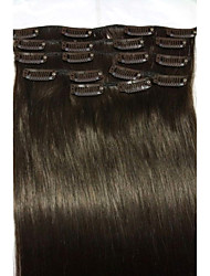 "18 ""# 2 donkerbruin klem in remy human hair extensions 8pcs / 80g"