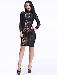 Women's Party/Cocktail / Club Sexy Bodycon Dress,Solid Crew Neck Knee-length Long Sleeve