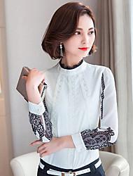 Women's Stand Collar Chiffon Long Sleeve Prints Blouses Shirt