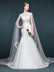 Trumpet / Mermaid Wedding Dress Court Train Scoop Tulle with Appliques / Ruffle