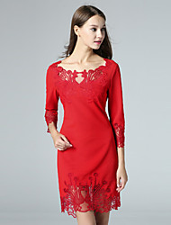 Boutique S Women's Casual/Daily Sexy Shift Dress,Embroidered Round Neck Above Knee ¾ Sleeve Blue / Red Polyester Fall