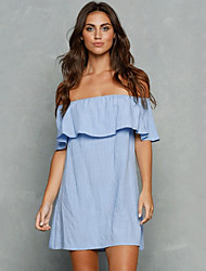 Women's Casual/Daily Simple Loose Dress,Solid Boat Neck Mini Short Sleeve Blue Linen Summer