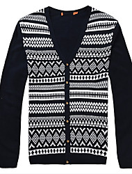Men's Casual/Daily Cardigan,Print Long Sleeve Cotton Fall Winter