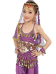 Belly Dance Outfits Children's Performance Chiffon Gold Coins / Sequins 7 Pieces Fuchsia / Light Blue / Purple / Royal