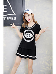Women's Sports Cute / Active Summer T-shirt,Print V Neck Short Sleeve Pink / White / Black Cotton / Polyester Thin