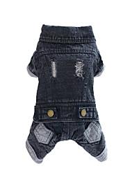 Dog Denim Jacket/Jeans Jacket Black Winter / Spring/Fall Solid Fashion, Dog Clothes / Dog Clothing-Lovoyager