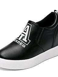 Women's Shoes Leatherette Spring / Fall Creepers Loafers & Slip-Ons Casual Platform Applique Black / White Walking