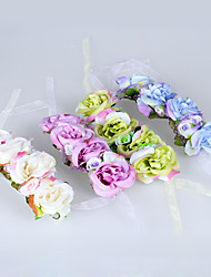 Wedding Flowers Hand-tied Roses Wrist Corsages Wedding Yellow / Pink / White / Purple Polyester / Tulle