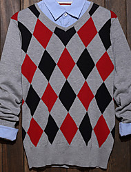 Men's Plaid Casual Pullover,Cotton Long Sleeve Black / White / Beige / Gray