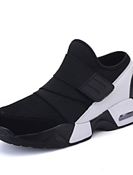 Feminino-Tênis-Conforto-Rasteiro-Preto Preto e Vermelho Preto e Branco-Tule Tecido-Ar-Livre