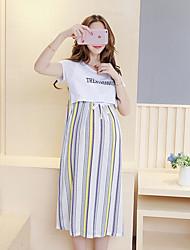 Maternidade Solto Vestido,Casual Simples Listrado Decote Redondo Altura dos Joelhos Manga Curta Branco Elastano Verão