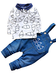 Boy's Cotton Spring/Autumn Fashion Cartoon Print Casual Long Sleeve Shirt And Jeans Overalls Pants Two-piece Set