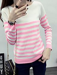 Damen Standard Pullover-Lässig/Alltäglich Einfach Gestreift Blau / Rosa Rundhalsausschnitt Langarm Acryl Herbst Mittel