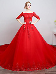 A-line Wedding Dress Chapel Train Off-the-shoulder Lace / Tulle with Beading / Lace
