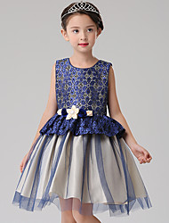 A-line Knee-length Flower Girl Dress - Cotton / Lace / Tulle Sleeveless Jewel with Flower(s) / Sash / Ribbon