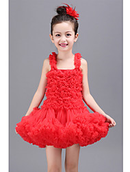 Ball Gown Short / Mini Flower Girl Dress - Polyester Sleeveless Square with Pleats