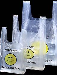 pequeno-almoço pe sacos de compras saco da veste do smiley bolsas de supermercado de embalagem local dom de enviar dois pacotes por caixa