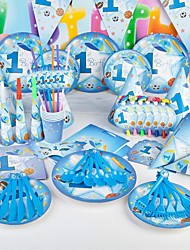 Birthday Party Tableware-6Piece/Set Tableware Sets Tag 100% virgin pulp Classic Theme Other Non-personalised Blue