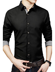 Men's Business Casual Slim Occupation Long Sleeved Shirt,Cotton / Polyester Long Sleeve Black / Blue / White
