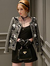 DABUWAWA Women's Going out / Formal / Party/ Vintage / Punk & Gothic Blazer,Solid Round Neck Long Sleeve