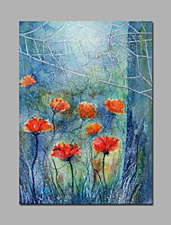 Light Blue And Red Poppy Flowers Artwork Canvas Framed Painting Modern Handpainted