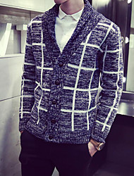 Men's Plaid Casual Cardigan,Wool Long Sleeve Blue / Gray