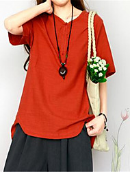 Women's Going out / Casual/Daily / Holiday Cute / Street chic Summer T-shirt,Solid V Neck Short Sleeve Red / Green