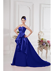 A-Line Notched Court Train Satin Formal Evening Dress with Draping
