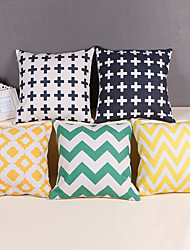 "Modern Style Linen Pillow Case 17"" by 17"" Geometric Pattern"