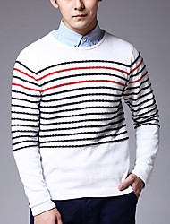 Men's Casual/Daily Regular Pullover,Striped Long Sleeve Cotton Fall
