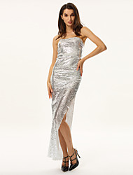 Women's Sequin Sexy Sequins Gold Strapless Maxi Dress