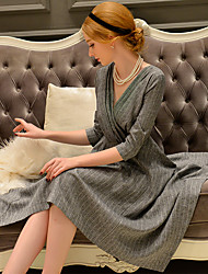 DABUWAWA Women's Going out / Formal Vintage / Simple Asymmetric Swing Dress,Solid V Neck Knee-length ¾ Sleeve