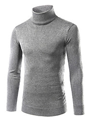 Men's Fashion Turtlenecks Solid Casual Outdoor Knitting Pullover Sweater;Causal/Plus Size