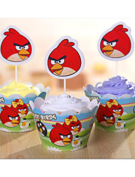 Angry Birds Cake Paper Cup Side 12 Side Inserted Card Suit +12 Gold Card Inserted