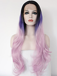 Synthetic Lace Front Wig Dark Root Ombre Purple/Pink Long Wavy Wigs Synthetic Glueless Wigs For Black for Women