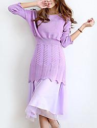 Mulheres Solto Vestido,Happy-Hour Moda de Rua Sólido Decote Redondo Médio Manga ¾ Roxo Acrílico Outono