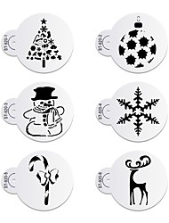 6Pcs Christmas Snowman Stencils Cookie Stencil Set Plastic Decorative Stencils Cupcake Stencil for Party ST-920