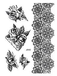 1pc Black Henna Temporary Tattoo Woman Rose Bracelet Body Art Tattoo Sticker Get Married BJ042