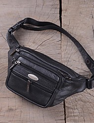 Men Waist Bag Cowhide Casual Outdoor Black Brown