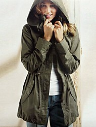 Women's Casual/Daily / Sports Active Trench Coat,Solid Long Sleeve Spring / Fall / Winter Green Cotton / Others Medium