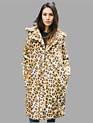 Women's Plus Size / Casual/Daily / Party/Cocktail Sexy / Simple Fur Coat,Solid / Leopard Stand Long Sleeve Fall /