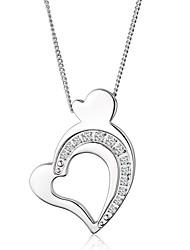 Feminino Casal Colares com Pendentes Pingentes Aço Titânio imitação de diamante Amor Moda Jóias de Luxo Prata Jóias ParaFesta Diário