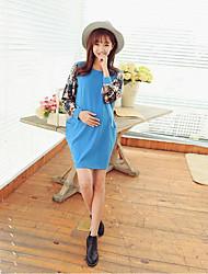 Maternidad Corte Swing Vestido Casual/Diario Chic de Calle,Estampado Escote Redondo Sobre la rodilla Manga Larga Azul Algodón Otoño