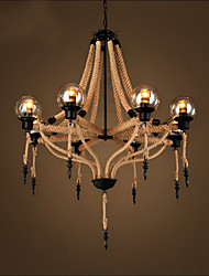 American Retro Hemp Rope Cchandelier Nostalgic Ddroplight of The Glass